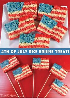 These 4th of July Rice Krispies Treats® are so fun to make with the kids and they're perfect for your neighborhood cookout or barbecue. They're quick and easy too so you can be sure to make a lot!