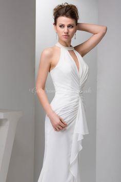Mermaid/Trumpet Chiffon Halter Natural Waist Sweep/Brush Train Zipper Sleeveless Ruching Split Wedding Dress picture 6