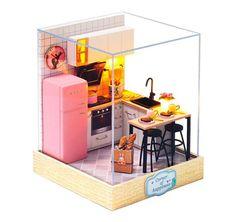 Wooden Dolls House Furniture, Miniature Dollhouse Furniture, Dollhouse Toys, Wooden Dollhouse, Miniature Kitchen, Dollhouse Miniatures, Home Furniture, Kit Homes, Cabine Diy