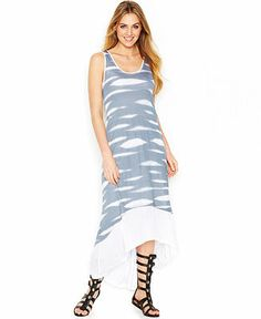 #kensie animal stripe hi-lo dress with gladiator sandals