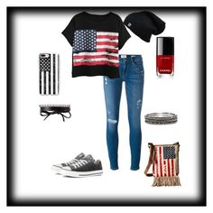 """American Flag outfit"" by santana59694 ❤ liked on Polyvore featuring Frame Denim, Converse, Fallon, Chanel, Chicnova Fashion, Casetify, Chico's and M&F Western"