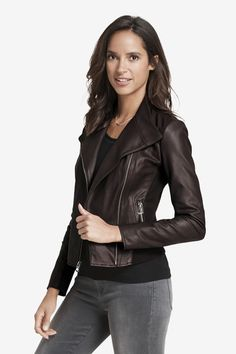 Fall Favorite 🍂: Buttery soft nappa leather with knit sides for a perfect fit. Leather Jackets Online, Johnston Murphy, Looking For Women, Perfect Fit, Style Inspiration, Lady, My Style, Womens Fashion, Outfits