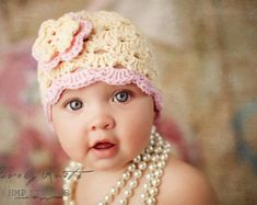 Crochet Baby Girl Hat with Daisy Applique Custom by LoopsInBloom