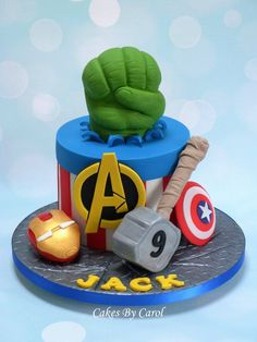 Avengers Birthday Cakes, Superhero Birthday Cake, Birthday Cupcakes, 4th Birthday, Superman Party Theme, Pastel Marvel, Marvel Cake, Toy Story Invitations, Avenger Cake