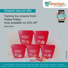 Now relish on yummy Hokey-Pokey ice-cream on sale upto 15% off* Follow the link: http://www.gharkart.com/…/chocolat…/desserts/ice-creams.html ‪#‎Gharkart‬ ‪#‎Onlineshopping‬ ‪#‎Groceries‬ ‪#‎homeneeds‬ ‪#‎onlinegrocery‬ ‪#‎hyperstore‬ ‪#‎hypermarket‬