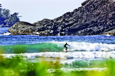 surfing at Pacific Rim National Park, Vancouver Island, BC