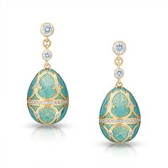 """""""Palais Tsarskoye Selo Diamond Turquoise Earrings The Heritage Collection draws inspiration from Fabergé's original jewelled masterpieces, capturing their refinement, cultural richness and technical perfection. Palais Tsarskoye Selo Diamond Turquoise Earrings feature round white diamonds and blue guilloché enamel set in 18 karat yellow gold. $16,000"""" (quote) ©FABERGÉ via faberge.com"""