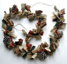 Christmas garland rag garland pine cones hand by AlisonWhateley