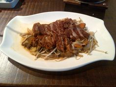 Crispy duck with bamboo shoots and mushrooms @ Restaurant East to West