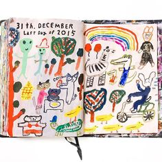 Mogu Takahachi 31th December  It's last day and last page of 2015!  #mogu_daily_doodles #art #journal #sketchbook