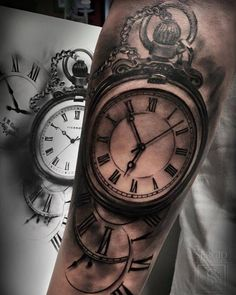 Black and grey pocket watch tattoo on the forearm. Tattoo Artist: Sergio…
