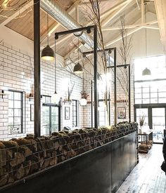 Light post built, walls wrapped and gabion wall by Metal Fred with Powell Architects Gabion Wall, Back Bar, Beer Taps, Steel Wall, Architects, Divider, Metal, Building, Room