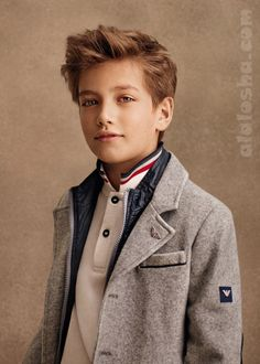 Love the hair. ALALOSHA: VOGUE ENFANTS: #Armani FW14/15 Boys' collection #junior #childrenswear