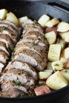 How to cook pork tenderloin, roasted to a juicy perfection in the oven. Easy recipe for a delicious dinner with simple seasonings and potatoes. Pork Loin Recipes Oven, Pork Tenderloin Oven, Oven Recipes, Pork Roast, Grilling Recipes, Easy Dinner Recipes, Easy Dinners, Roasted Pork Tenderloins, How To Cook Pork