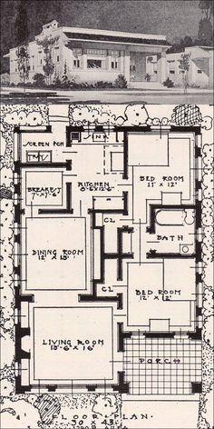 Open Plan Spanish Revival - 2 Bedroom Cottage - 1916 Ideal Homes in Garden Communities