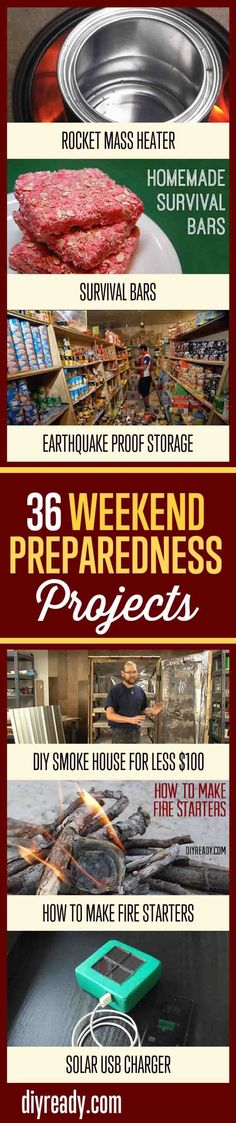 36 Weekend Preparedness Projects For Preppers   Emergency Survival Outdoor DIY Projects By DIY Ready. http://diyready.com/36-weekend-projects-for-preparedness-and-survival/