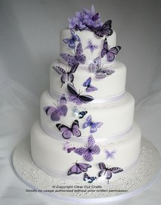 Weave in these magical and breathtaking butterfly wedding ideas on your wedding gown, reception decor, and even the cake! The butterfly teaches the magic of believing. A butterfly wedding is one of the most magical and romantic wedding themes ever. Purple Wedding Cakes, Cool Wedding Cakes, Beautiful Wedding Cakes, Gorgeous Cakes, Wedding Cake Designs, Pretty Cakes, Wedding Ideas, Wedding Decorations, Purple Cakes