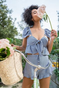 The Marina Bloomers and Riviera Crop in Gingham