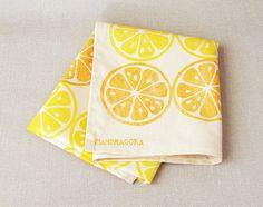 Retro Lemon and Orange  Handprinted Cotton Tea Towel by MandragoraPrints