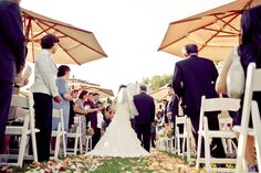 Use oversized umbrellas during your outdoor ceremony