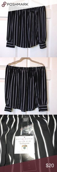 NWT Polly & Esther juniors size large top NWT off the shoulder top Polly & Esther Juniors size large.  Black with white vertical stripes. Smoke free home. Polly & Esther Tops
