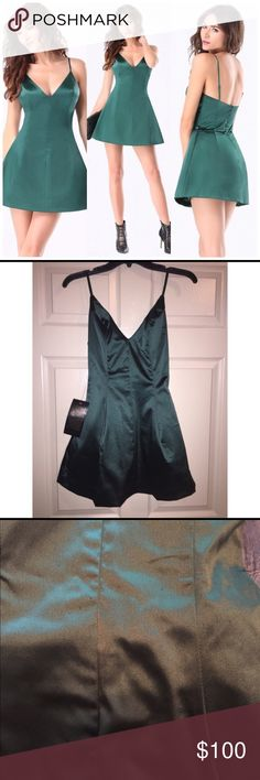 Bebe Deep V Mini Dress Brand new never been worn. Has very minor snags in a couple of spots (as seen in pics)  from traveling. Runs a size small, fits more like US size 0. Retail price $139. bebe Dresses Asymmetrical