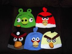 Had to pin this, my older boys would love them. Crocheted Angry Bird Hats by AngiesCardsandCrafts on Etsy