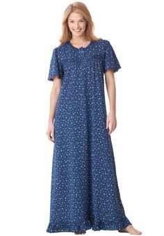 Industries Needs — Dreams And Company Plus Size Long Cotton Knit Gown...