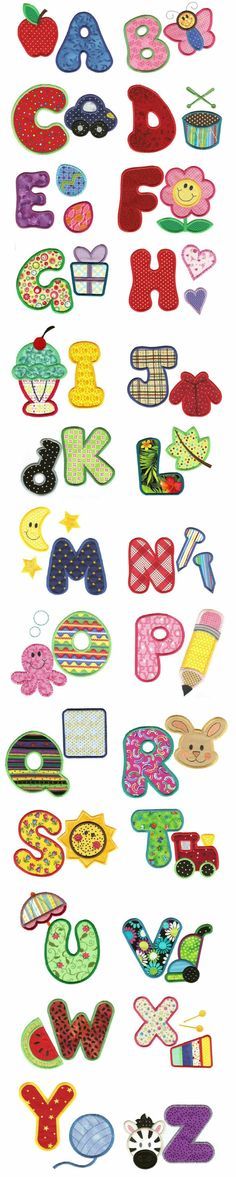 My ABCs Applique Alphabet, Designs by Juju: Sewing Appliques, Applique Patterns, Applique Designs, Machine Embroidery Designs, Sewing Hacks, Sewing Crafts, Sewing Projects, Embroidery Alphabet, Embroidery Applique