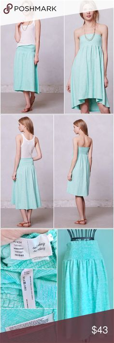 Anthropologie Spectral Midi Skirt Green Up for sale preowned Anthropologie Spectral Green Skirt by Saturday/Sunday. Very versatile can be worn as a Dress or a high low skirt. Perfect for summer. It is in great condition, no stains or rips. Anthropologie Skirts