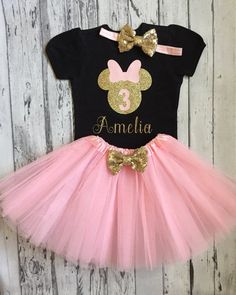 Pink and Gold Personalized Minnie Mouse Birthday Shirt & Tutu, Minnie Birthday Shirt and Tutu, Minnie Mouse Pink and Gold Birthday Pink And Gold Birthday Party, Girl 2nd Birthday, Minnie Birthday, Birthday Shirts, Minnie Mouse Pink, Minnie Mouse Party, Minnie Bow, Tutu Party, Tutus For Girls