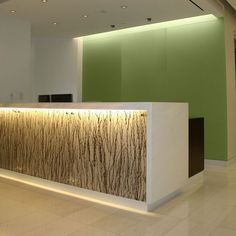 Custom Made Backlit Reception Desk With Absolute White Stone Top