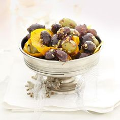This flavor-packed appetizer combines the brine of olives, tang of multiple spices, and subtle bite of two different kinds of citrus.