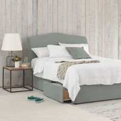 Bed showing how I would like yo recover her current divan & a headboard