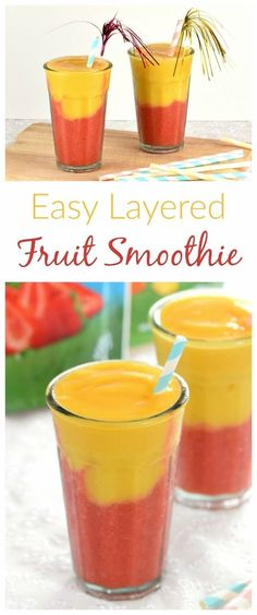 Gorgeous layered fruit smoothie recipe with new Dole frozen fruit - a lovely healthy treat all the year around from Eats Amazing UK