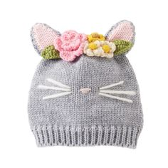 Crochet Baby Hats Cat Knit Hat by Mud Pie months) - Heathered gray woven yarn cap features dimensional cat ears, crochet flower crown, ribbed brim and contrast nose and whiskers. Size: 6 to 18 months Baby Hats Knitting, Knitting For Kids, Baby Knitting Patterns, Knitting Projects, Crochet Projects, Crochet Patterns, Love Crochet, Knit Crochet, Crochet Hats