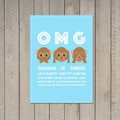 OMG Emoji Monkey Birthday Invitation by BirdstheWordInc on Etsy