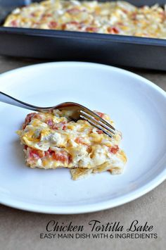 Easy six ingredient chicken tortilla casserole recipe :) Yummy