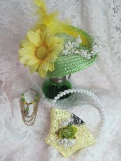 Doll hat, bag necklace set, lime green and yellow Barbie 3 piece accessories set, decorated  with ribbon, flowers feathers and beads.....A