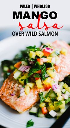 This healthy, colorful cucumber mango salsa is one of my favorite toppings for simple pan-seared wild salmon. It's crunch, tangy, slightly tweet, and perfectly tart. This a fast and easy whole30 recipe that's ready in just 20 minutes! Get the recipe, plus my tips for restaurant perfect seared salmon every single time. Simple and healthy has never tasted so good. #paleo #whole30 #salmon #healthy #mango #salsa #fastdinner #easydinner #easypaleo