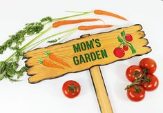 CUSTOM GARDEN SIGN Garden Marker Rustic Looking Directional Sign painted Vegetables hand routed Name Sign (57.00 USD) by TheCommonSign
