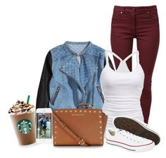 """""""Back to school"""" by noemieofficialswagg ❤ liked on Polyvore featuring H&M, Maison Margiela, American Eagle Outfitters, Converse, Michael Kors, Tory Burch, women's clothing, women, female and woman"""