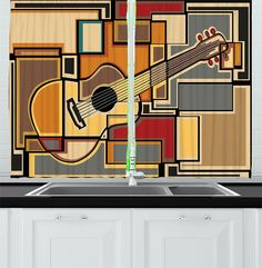 Music Decor Kitchen Curtains by Ambesonne, Funky Fractal Geometric Square Shaped Background with Acoustic Guitar Figure Art, Window Drapes 2 Panels Set for Kitchen Cafe, 55 W X 39 L Inches, Multi >>> You can find out more details at the link of the image-affiliate link. #WindowTreatments