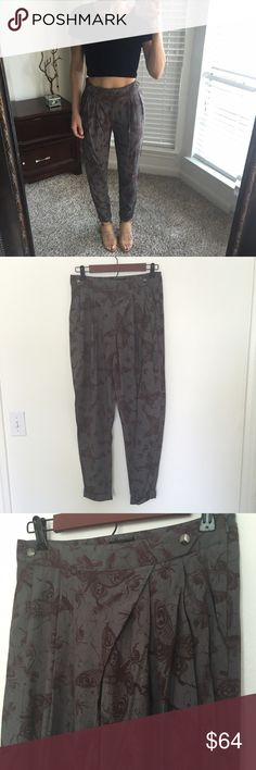 Topshop trousers Only worn once. Hunter green with brown butterflies. So cute!! Topshop Pants Trousers