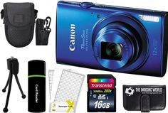 Canon PowerShot ELPH 170 IS 20.0MP Digital Camera (Blue) + 16GB Card + Reader + Case + Accessory Bundle. Kit Includes 10 Products -- All Brand New with Manufacturer supplied accessories, and Warranty:. Canon PowerShot ELPH 170 IS Digital Camera (Blue) + NB-11LH Lithium-Ion Battery Pack + CB-2LF Battery Charger + WS-800 Wrist Strap + Canon USA 1-Year Warranty (All These Included in Camera Box) + Accessory Kit:. Transcend 16 GB Class 10 200x Speed SDHC Memory Card + Card Reader + Memory…
