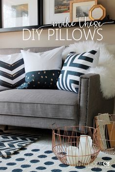 Learn how to make these stunning designer style throw pillows for about $5 each! Painted throw pillows are easy to get the style you love on a slim budget.