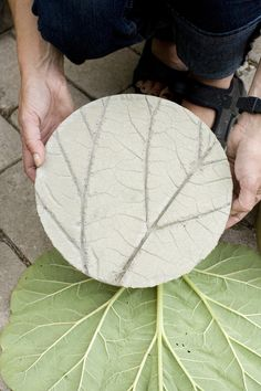 DIY for making stepping stones with imprints of rhubarb leaves.