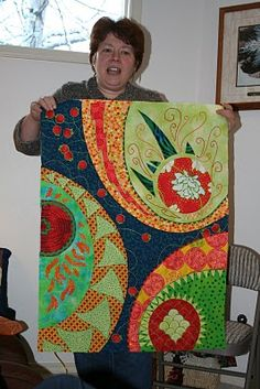 Anchorage Log Cabin Quilters: Recycle, Repurpose, Reuse - Rena Brinker, quilt inspired by deviled eggs!  - I LOVE this modern quilt, I love love love it!  This is something I would love as a wall hanging in my home
