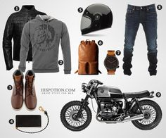 If you're a busy guy running from one coffee bar to another (cause that's what cafe racer motorcycles are for), you've got to have some style. How to look good on it: potion. Motorcycle Men, Motorcycle Style, Motorcycle Outfit, Motorcycle Fashion, Style Moto, Bike Style, Moto Cafe, Cafe Bike, Bmw Boxer