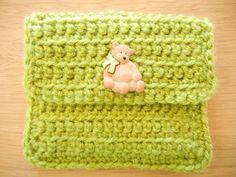 Green coin purse children coin purse crochet coin door EraOfCrea